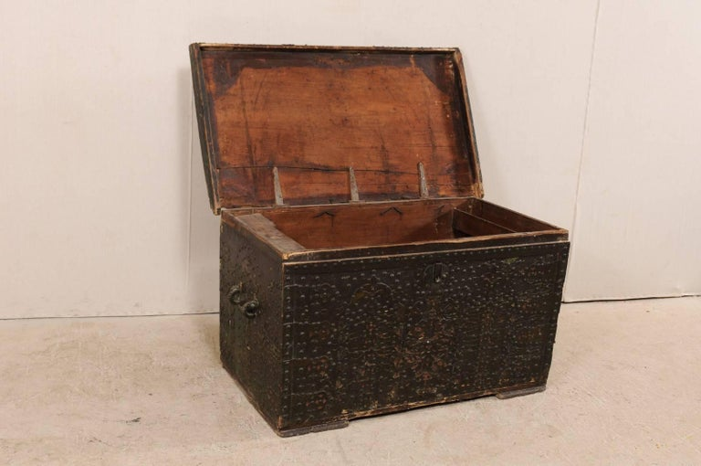 Late 18th Century Spanish Baroque Wood Coffer with Brass Nail-head Adornment For Sale 1