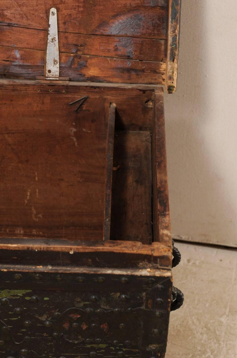 Late 18th Century Spanish Baroque Wood Coffer with Brass Nail-head Adornment For Sale 4