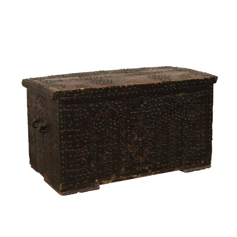 Late 18th Century Spanish Baroque Wood Coffer with Brass Nail-head Adornment For Sale