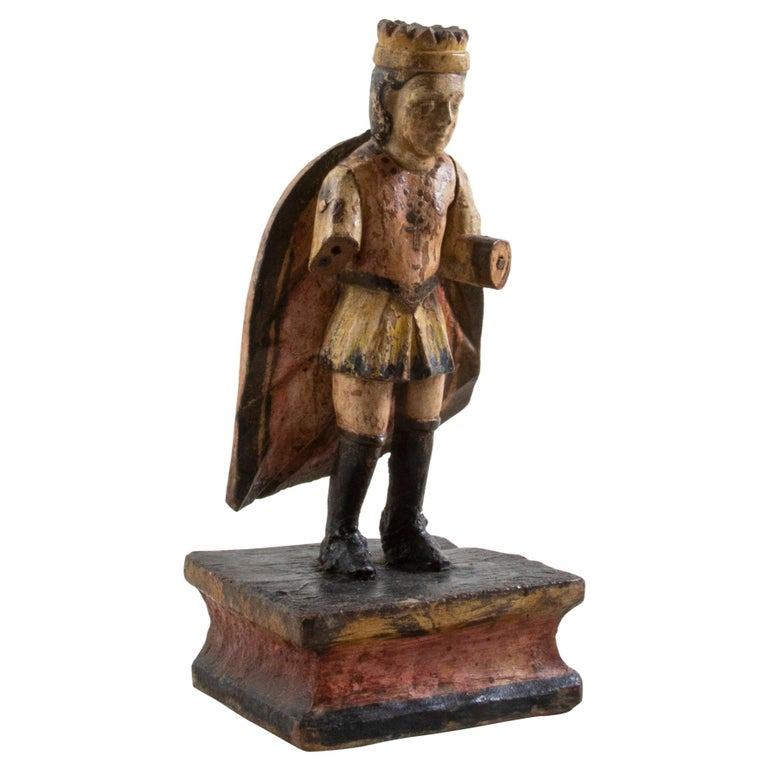 Late 18th Century Spanish Hand Carved Polychrome King Sculpture For Sale