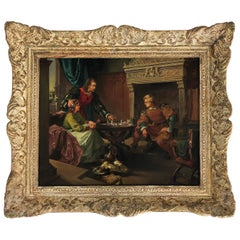 """Late 18th Century Spanish Oil Painting on Wood Titled """"Jugando al A'jedrez"""""""