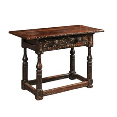 Late 18th Century Spanish Walnut Console Table with Brass Studs