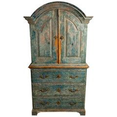 Late 18th Century Swedish Armoire Cupboard Original Turquoise Paint Brass Detail