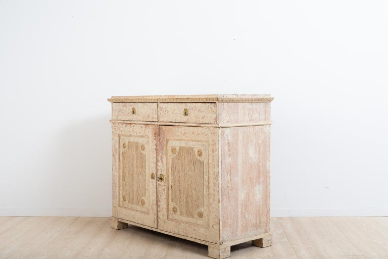 Pine Late 18th Century Swedish Double Doored Gustavian Sideboard For Sale