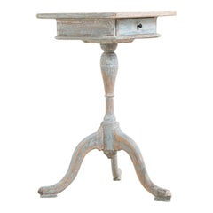 Late 18th Century Swedish Gustavian Column Table from Hälsingland