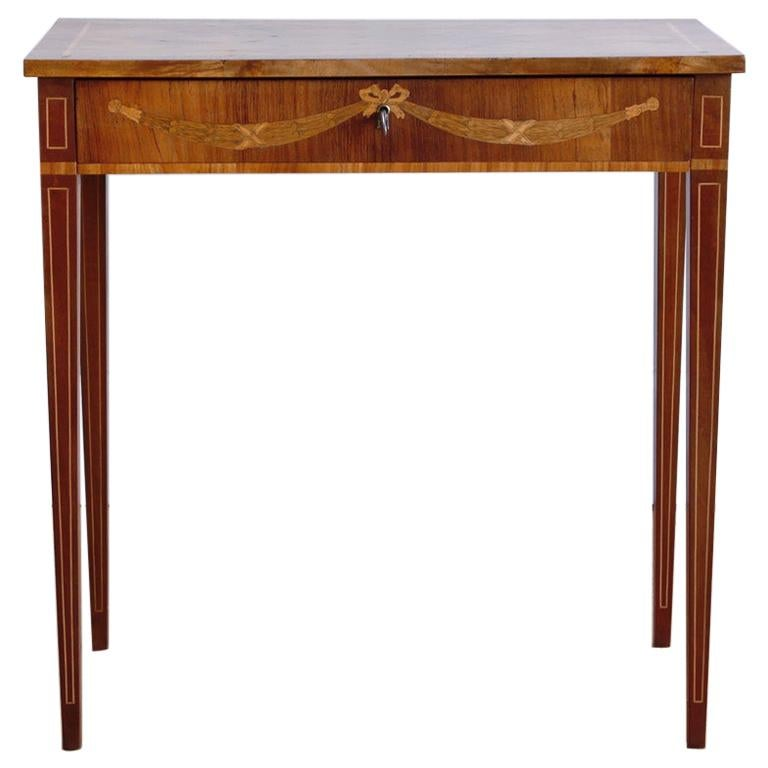 Late 18th Century Swedish Gustavian Occasional Table with Fruitwood Inlay For Sale