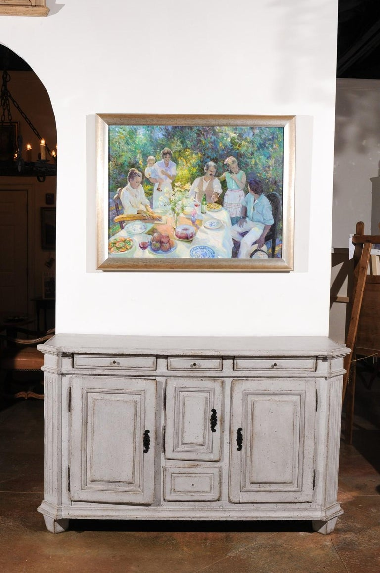Late 18th Century Swedish Gustavian Painted Wood Sideboard with Fluted Pilasters In Good Condition For Sale In Atlanta, GA