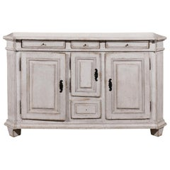 Late 18th Century Swedish Gustavian Painted Wood Sideboard with Fluted Pilasters