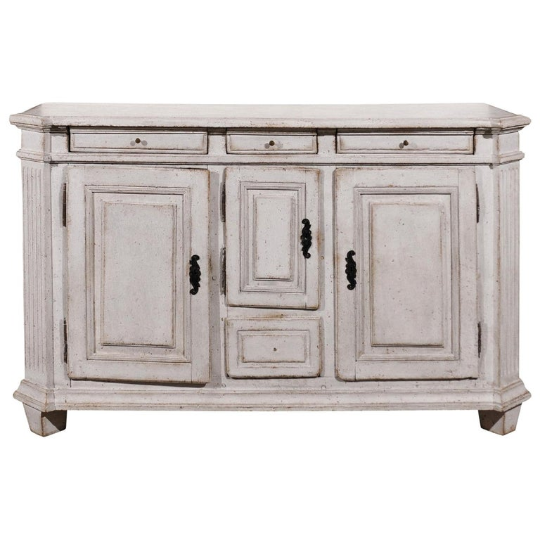 Late 18th Century Swedish Gustavian Painted Wood Sideboard with Fluted Pilasters For Sale