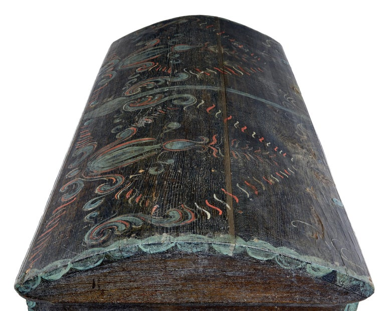 Late 18th Century Swedish Oak and Hand Painted Dome Top Trunk 2