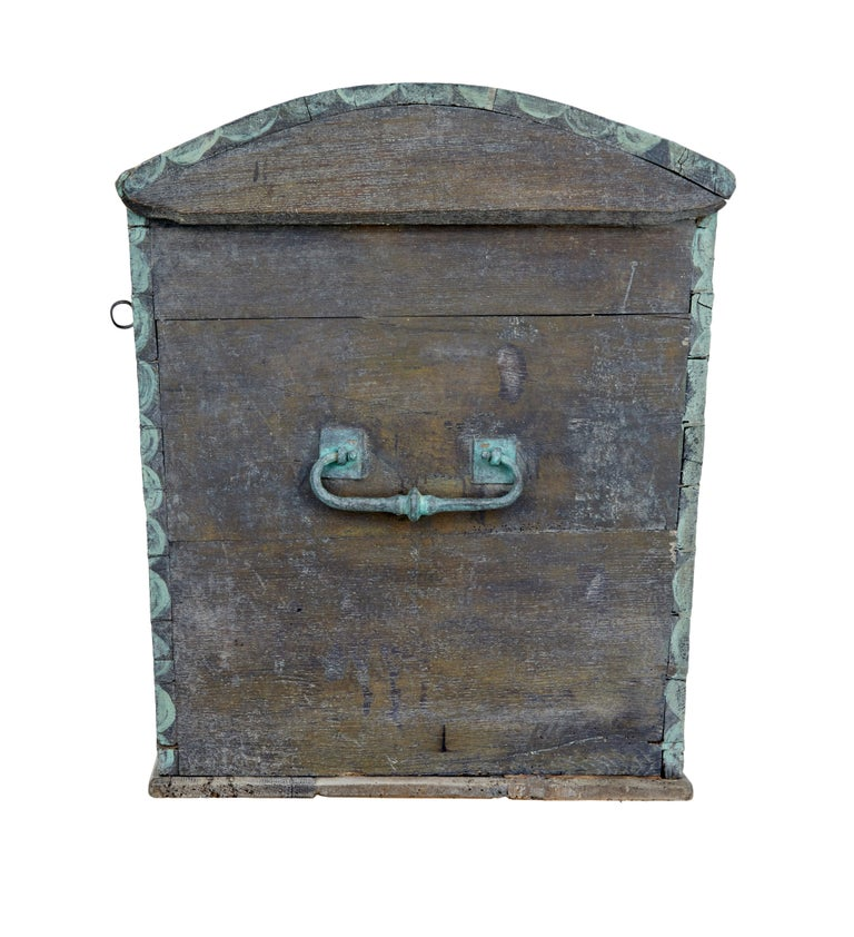 Late 18th Century Swedish Oak and Hand Painted Dome Top Trunk 5