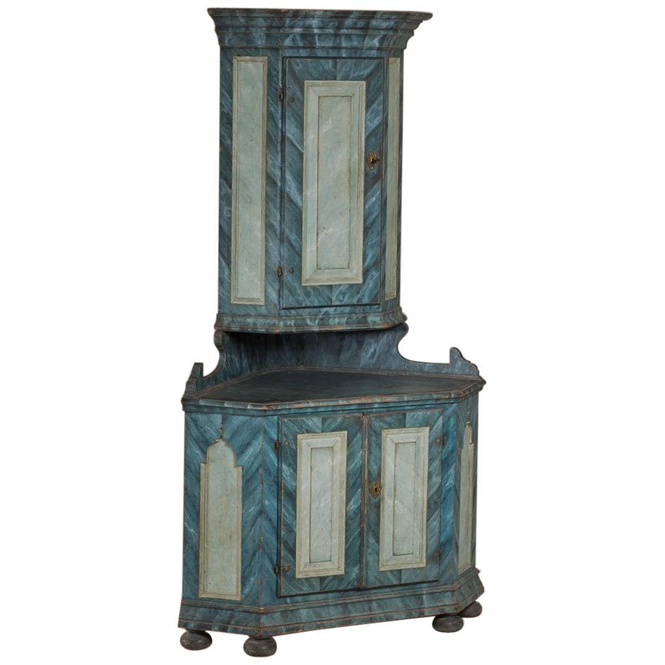 Late 18th Century Swedish Painted Corner Cupboard