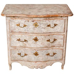 Late 18th Century Swedish Three-Drawer Hand Painted Commode with Sliding Leaf