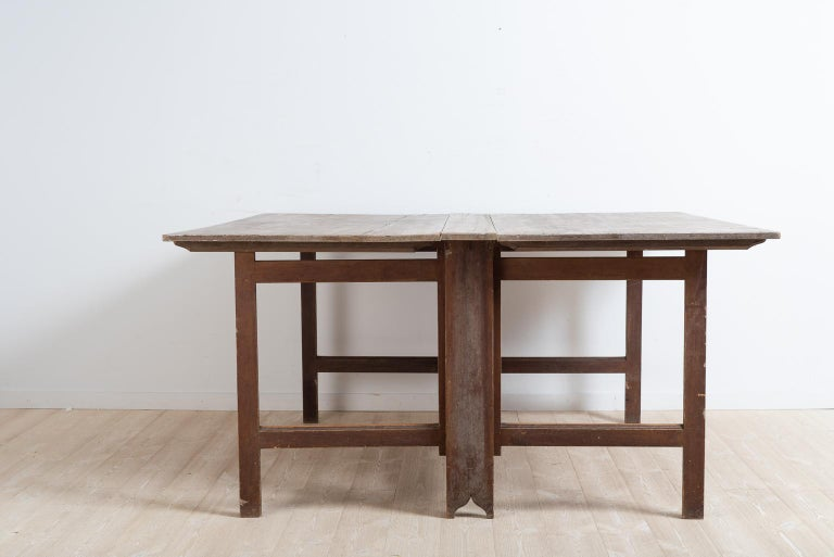 Late 18th Century Swedish Untouched Gustavian Drop-Leaf Table For Sale 2