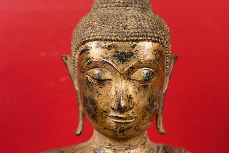 Late 18th Century Thai Gilt Bronze Meditative Seated Buddha Statue on Pedestal For Sale 9