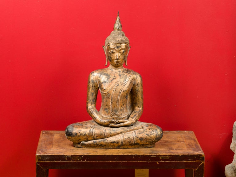 Late 18th Century Thai Gilt Bronze Meditative Seated Buddha Statue on Pedestal For Sale 12