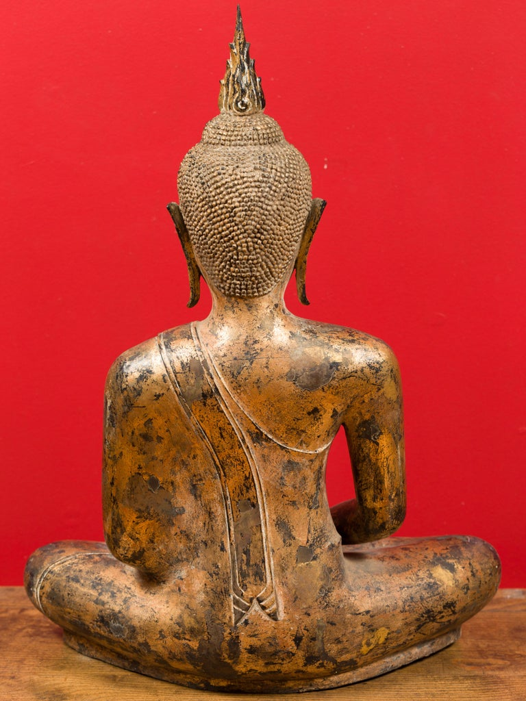Late 18th Century Thai Gilt Bronze Meditative Seated Buddha Statue on Pedestal For Sale 13