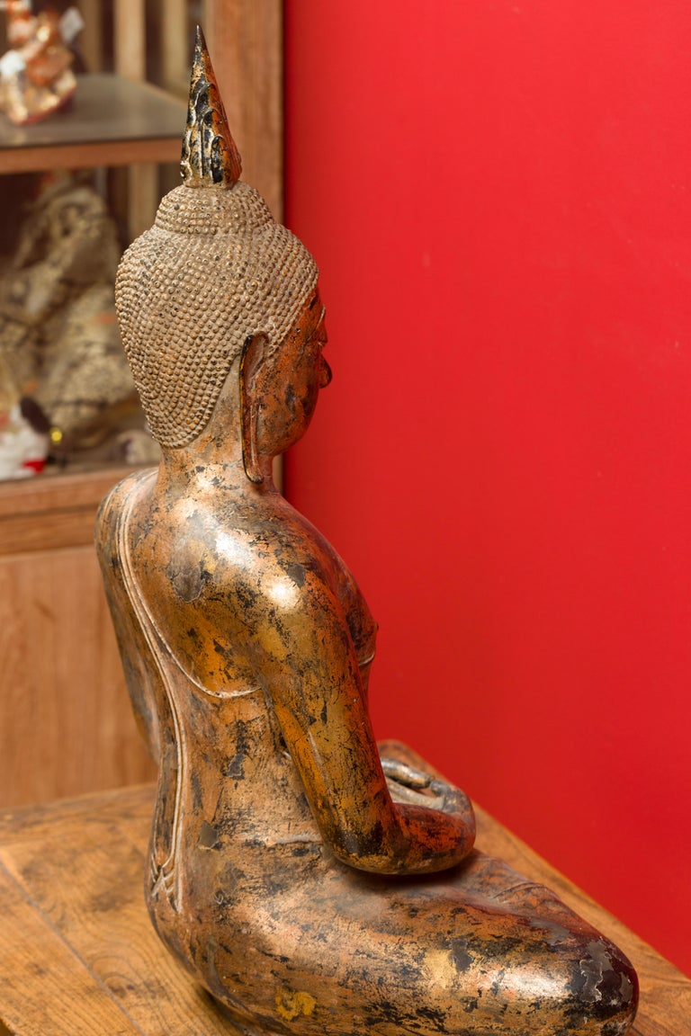 Late 18th Century Thai Gilt Bronze Meditative Seated Buddha Statue on Pedestal For Sale 14