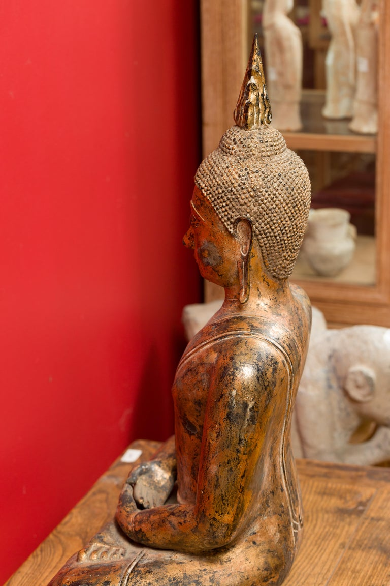 Late 18th Century Thai Gilt Bronze Meditative Seated Buddha Statue on Pedestal For Sale 15