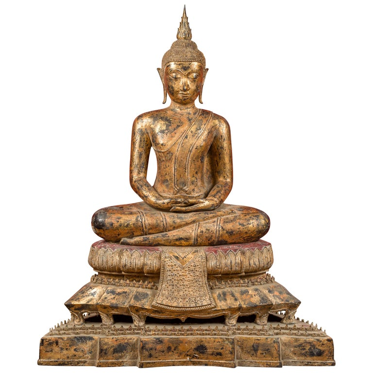 Late 18th Century Thai Gilt Bronze Meditative Seated Buddha Statue on Pedestal For Sale