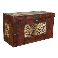 Late 18th Century Tibetan Trunk Leather Covered Wood, Iron Fittings with Leopard