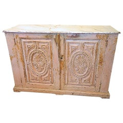 Late 18th Century Two-Door Carved and Painted Portuguese Credenza