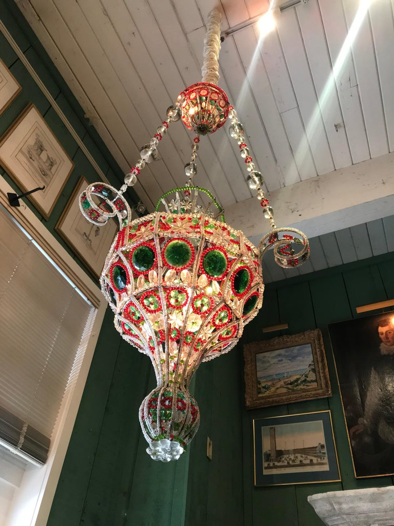 Late 18th century-early 19th century Venetian library chandelier pendant colorful hanging lamp . See detailed pictures, they show the excellent workmanship. It's a rare piece of art chandelier to find with colored crystal glass , red green clear and