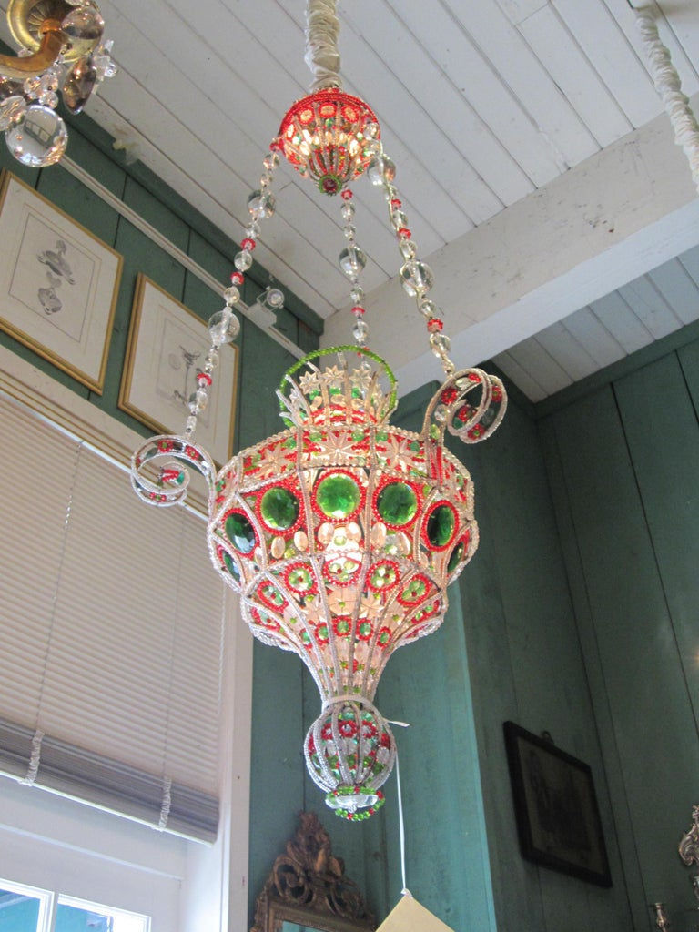 Hand-Crafted 18th C. Venetian Library Chandelier Pendant Colorful Hanging Lamp ceiling light  For Sale