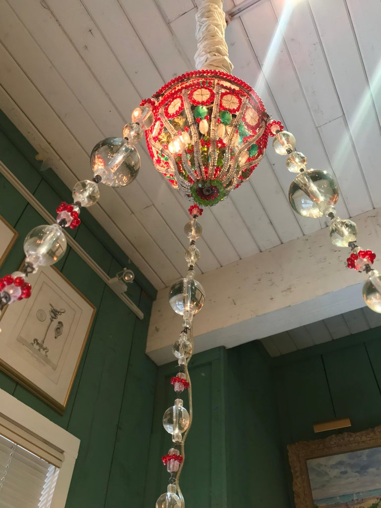 18th C. Venetian Library Chandelier Pendant Colorful Hanging Lamp ceiling light  In Good Condition For Sale In West Hollywood, CA