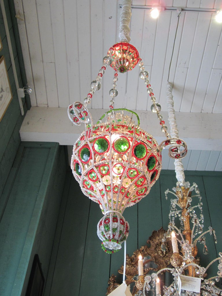 18th Century 18th C. Venetian Library Chandelier Pendant Colorful Hanging Lamp ceiling light  For Sale