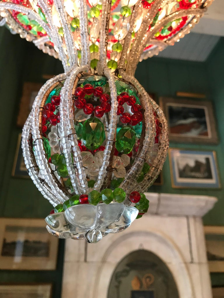 18th C. Venetian Library Chandelier Pendant Colorful Hanging Lamp ceiling light  For Sale 1