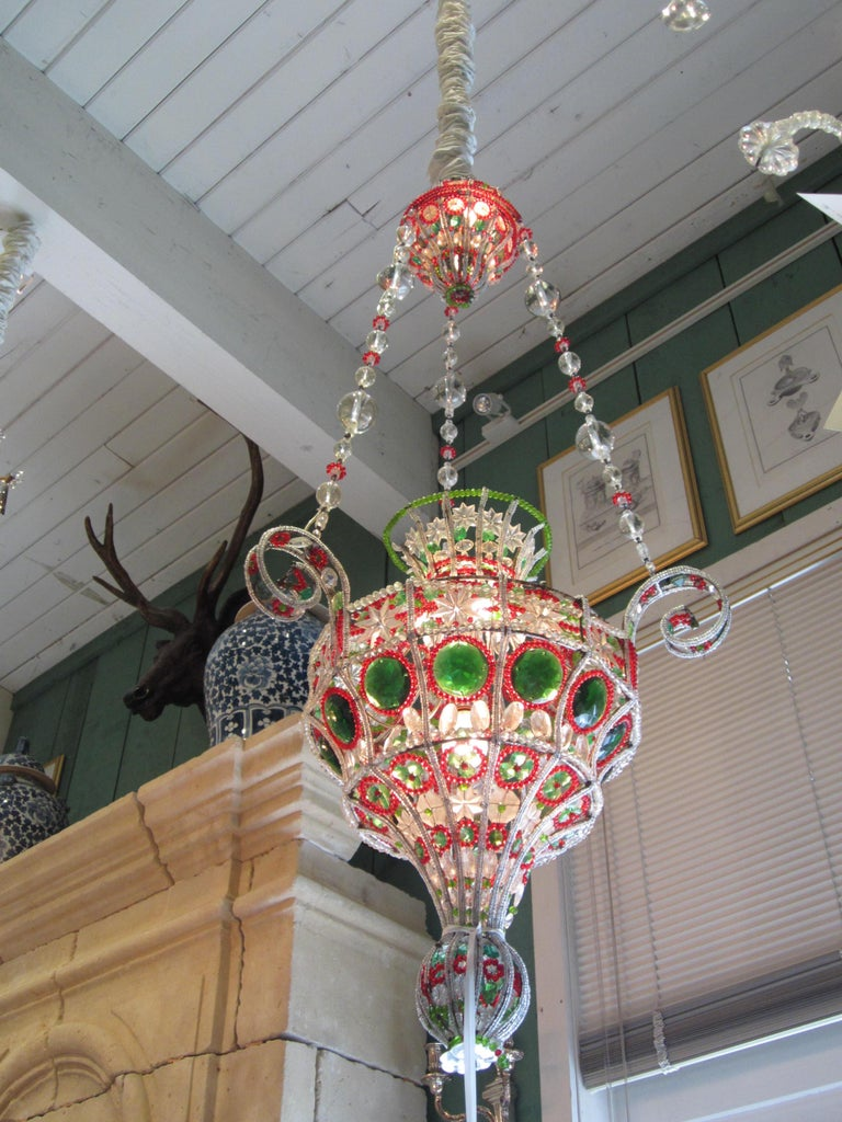 18th C. Venetian Library Chandelier Pendant Colorful Hanging Lamp ceiling light  For Sale 2
