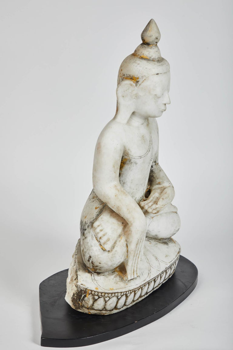 18th Century and Earlier Late 18th Century White Alabaster Carved Ava Style Buddha Statue For Sale