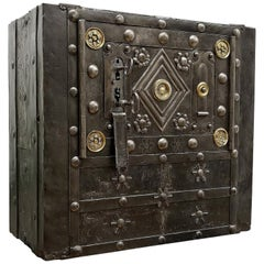 Late 18th Century Wrought Iron Italian Antique Hobnail Safe Strongbox