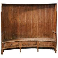 Late 18th Early 19th Century Barrel Back Pine Tavern Settle