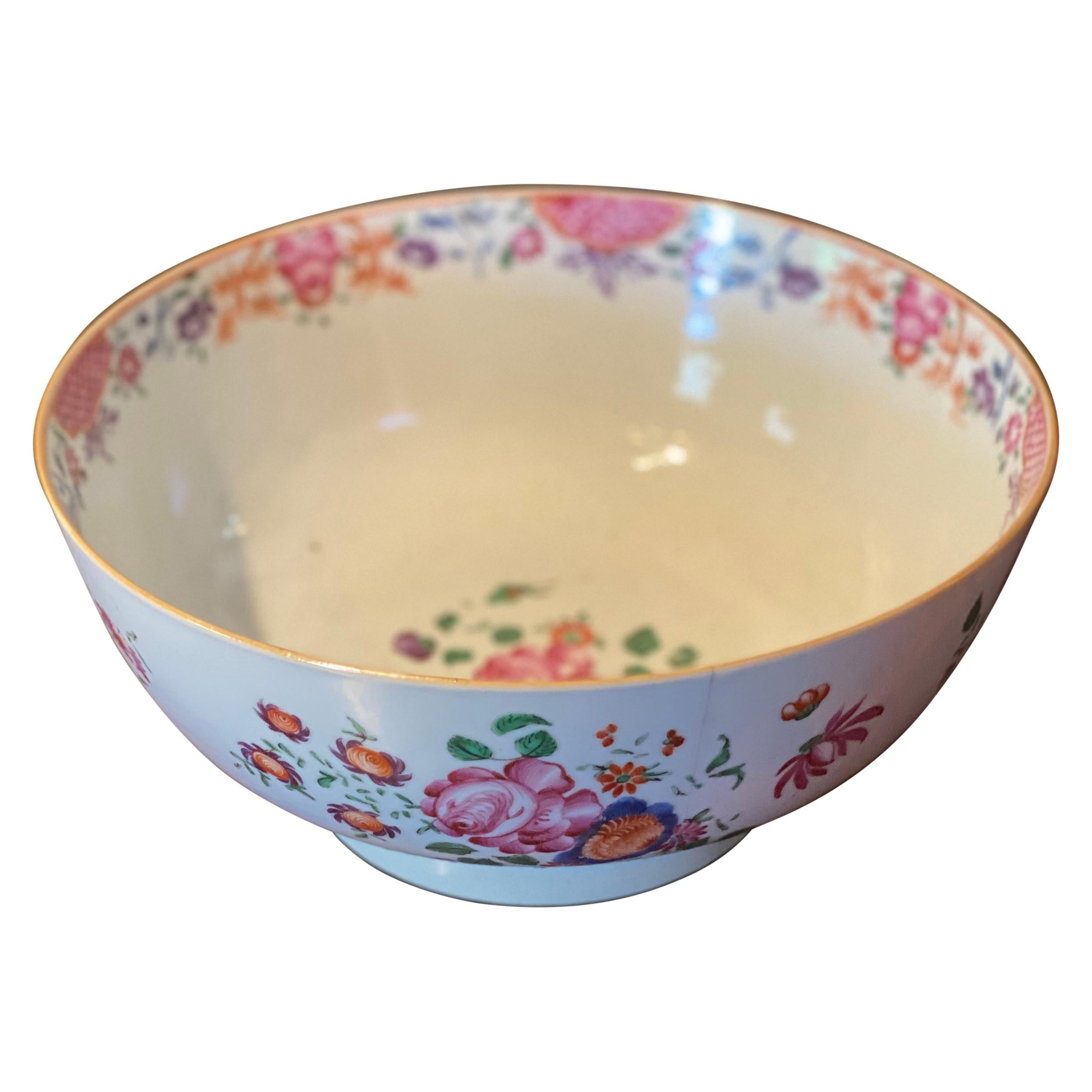 Late 18th- Early 19th Century Chinese Export Punch Bowl with Flowers