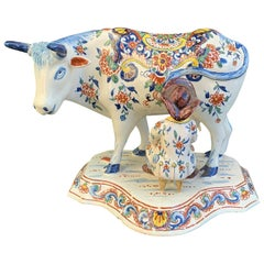 Late 18th-Early 19th Century Dutch Delft Polychrome Porcelain Cow Milking Group