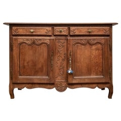 Late 18th-Early 19th Century French Carved Oak Buffett