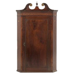 Late 18th-Early 19th Century Georgian Mahogany Inlaid Hanging Corner Cabinet