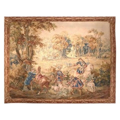 Late 18th-Early 19th Century Handwoven Hunt Tapestry from Brussels