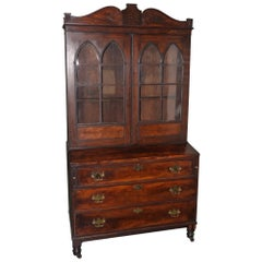 Late 18th-Early 19th Century Mahogany Secretary with Slant Front Writing Desk
