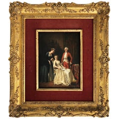 Late 18th-Early 19th Century Period Interior Oil Painting on Wood Panel