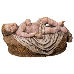 Late 18th-Early 19th Century Spanish Painted Terracotta Baby Jesus Lying in Cot