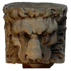 Late 18th or Early 19th Century Carved Stone Lion Head Architectural Element