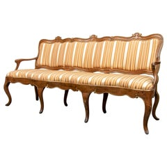 Late 18th Swedish Walnut Sofa Upholstered in Striped Silk Fabric
