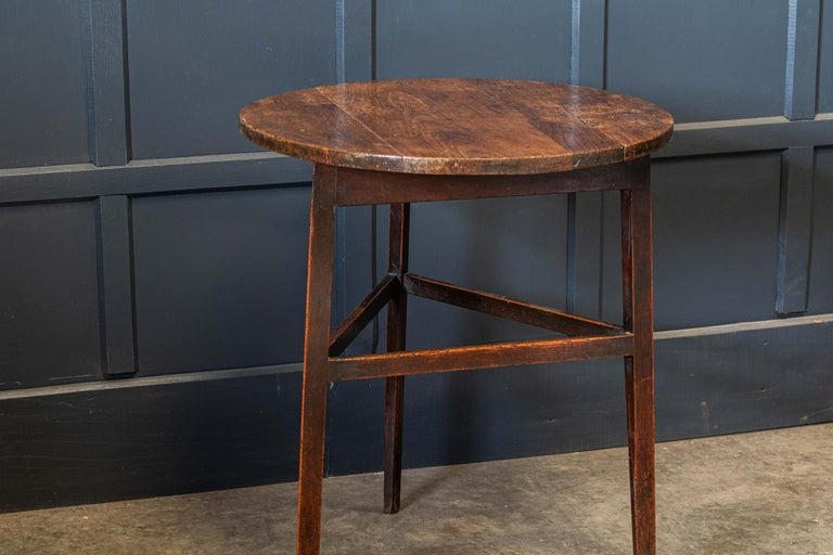 British Late 18thc English Ash & Fruitwood Cricket / Tavern Table For Sale