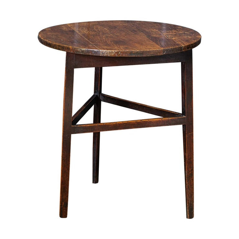 Late 18thc English Ash & Fruitwood Cricket / Tavern Table For Sale