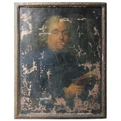 Late 18th Century French School Oil on Canvas Portrait of a Priest Dated to 1793