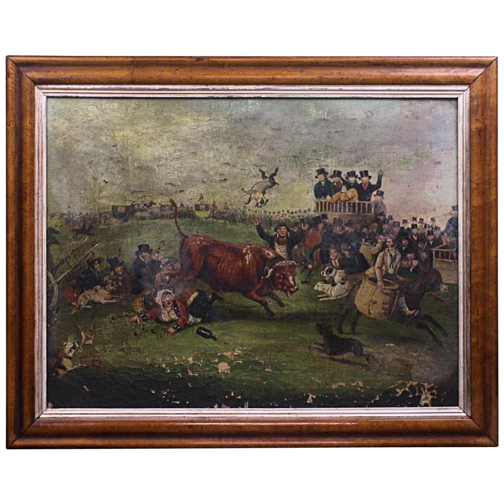 "Late Naive English School ""Bull Broke Loose"" Bull Baiting Oil on Canvas"
