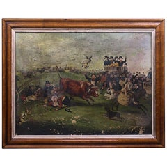 "Late Naive English School ""Bull Broke Loose"" Bull Baiting Oil on Canvas"